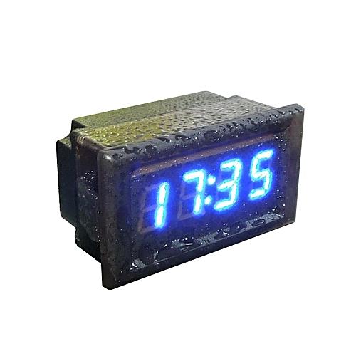 Waterproof Car Motorcycle 12V/24V Dashboard Digital LED Display Clock Blue-Black