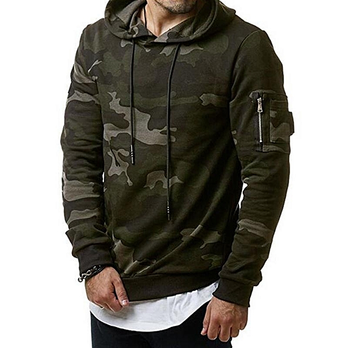 d38c6a60e54db Men's Fashion Winter Camouflage Hoodie Warm Hooded Sweatshirt Coat Jacket -green