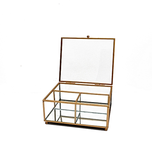 3- Sided Glass Jewelry Box With Touch Of Gold