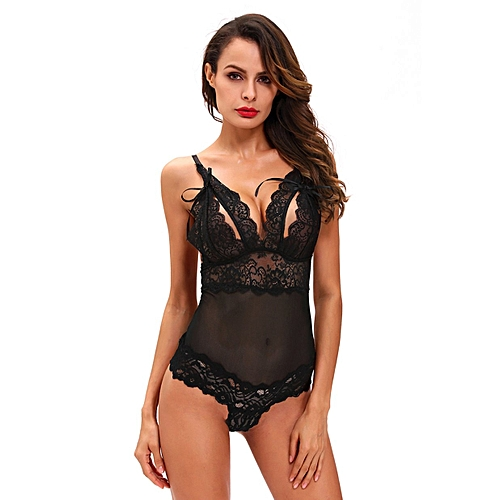 Allwin Black Tight-fitting One-piece Underwear LC32028-2 V Collar With Little Bow S-black