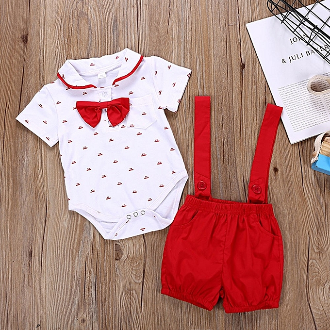 3c0c584cfd2 ... 2PCS Baby Infant Boys Short Sleeve Romper Clothes + Toddler Pants Set  Outfits ...