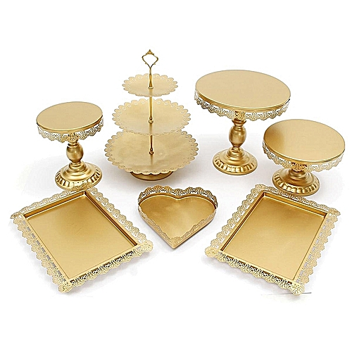 7Pcs Amalfi Decor Metal Top Crystal Cake Stand Round Heart Wedding Display Tower Gold