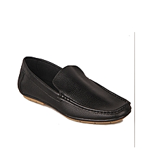 70c500f987d Plain Casual Synthetic Leather Loafers - Black