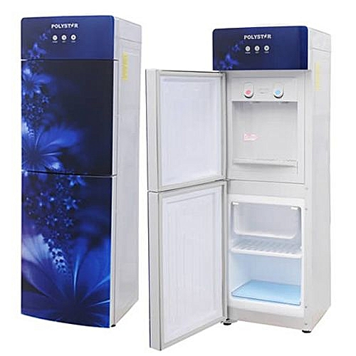Polystar Water Dispenser, Glass Panel Blue Colour With Fridge And Freezer PV-R6JX-5B