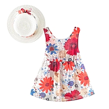 c3b47655068 Newborn Baby Girls Floral Print Bowknot Princess Dress+Hat CasualClothes  Sets Suits Musiccool