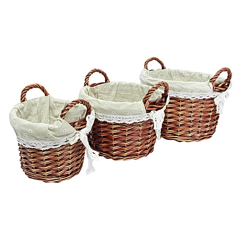 New Set Of 3 Oval Hand-woven Willow Wicker Storage Basket Organizer W/ Lining#Round