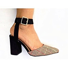 71cf0dd54c603 Vivienne Ankle Strap Block Heel Pump - Black   Brown (Prince Of Wales Check)
