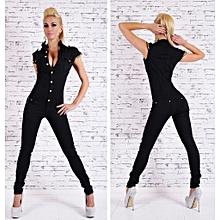 a6673608ced Hot Sale Denim Long Jumpsuit Sexy Deep V Neck Jean Combinaison Black  Playsuit