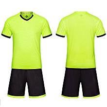 Men Short Sleeve V-neck Soccer Football Jerseys Training Clothing Uniforms  Suit-Green bb01c2534