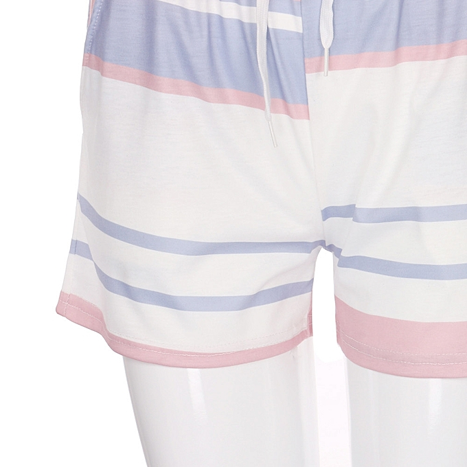 7cce29671945c ... New Women Short Sleeve Striped Crop Tops Blouse+Cord Shorts Outfit Set  Sports Suit ...