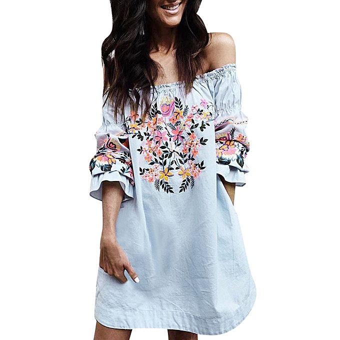 95697cbca6ff Fashion Women Floral Dress Ladies Summer Beach Party Off Shoulder Mini Dress