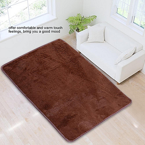 120 X 80cm Rectangle Soft Plush Mat Pure Color Home Floor Carpet Bedroom Shaggy Rug Brown