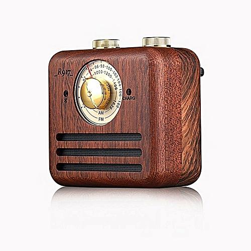 Retro Bluetooth Speaker, Portable Stereo Natural Walnut Wood Mini Wireless Bluetooth Bass Subwoofer, Support FM/AM Radio Loundspeaker HT-S