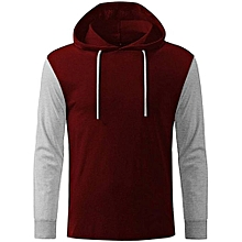 00b4ffda0 Long Contrast Sleeve Hooded T-Shirt - Wine & ...