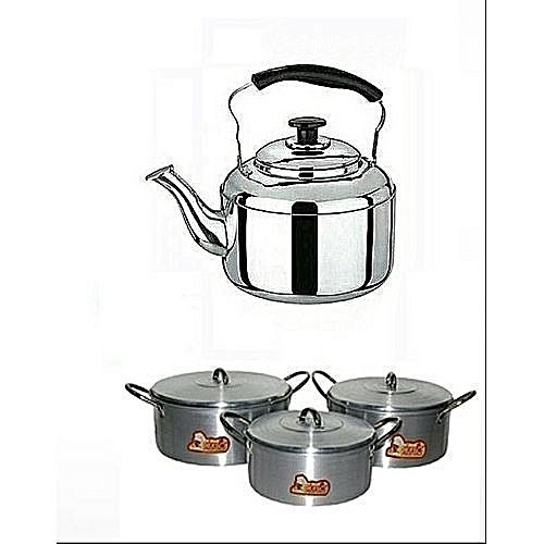 Cooking Pot Set 3 Pieces- Big Size And Whistling Kettle (3)Litres