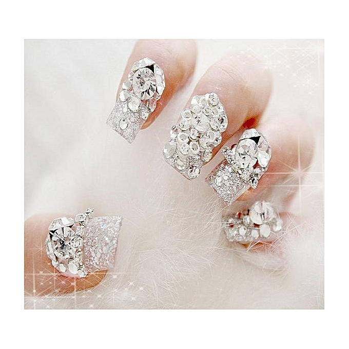 Buy Sunshine 4 Size 300pcs Nail Art Tips Crystal Glitter Rhinestone ...