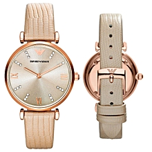 963d490e5ed Retro Rose Gold Dial Brown Leather Strap Ladies Watch
