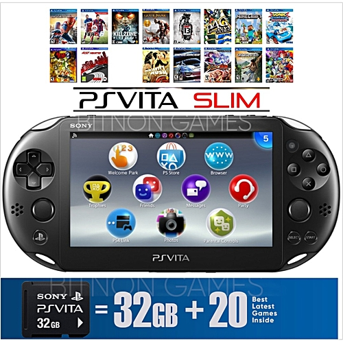 PS VITA SLIM - WIFI - Includes 32Gb Memory Card Plus 20 Latest Games Installed- Black