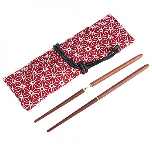 SHANYU Portable Tableware Set Sandalwood Foldable Travel Camping Chopsticks With Cloth Bag