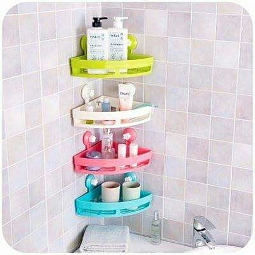 Generic 1 - Triangle Commodity Shelf Storage Rack With Double Sucker - White