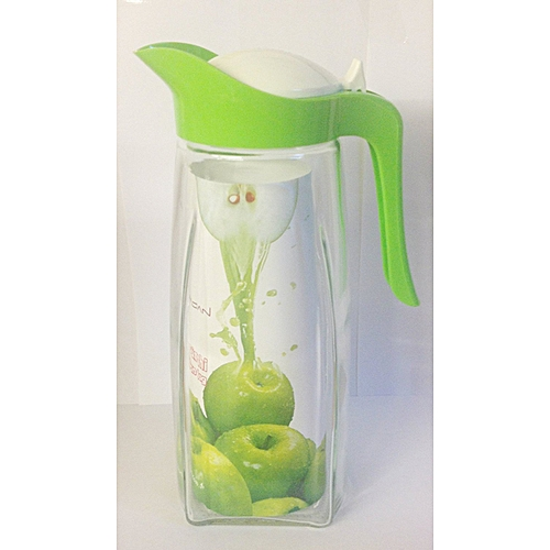 FRIDGE WATER JUG 1.5L Colour Green LID SWAN STYLE GLASS JUGS