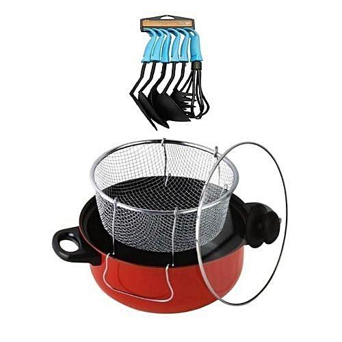 Non Stick Manual Deep Fryer(Black/Red) + Free Non-Stick Spoon Set