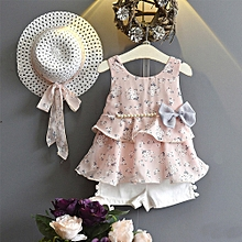 d004933a342fe 2019 Kids 3PCS Toddler Baby Kid Girl Outfits Clothes Floral Vest T-shirt+ Pants
