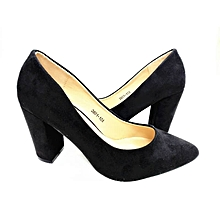 b56c283502e Suede Pointed Lady Block Heel Covered Shoe - Black