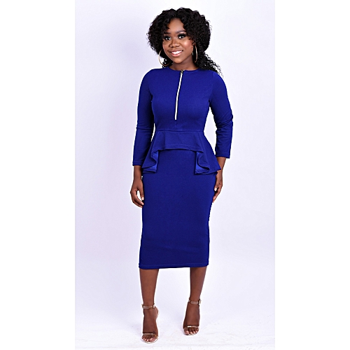 Royal Blue Asymmetric Peplum Dress