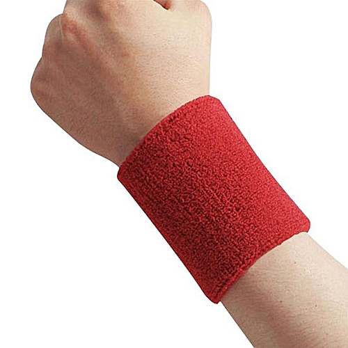Cotton Sweatband Moisture Wicking Athletic Terry Cloth Wristband For Tennis, Basketball, Running, Gym, Working Out Specification:Red 8 * 10CM