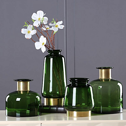QUKAU Glass Vase Gold Edge Copper Bottom Light Luxury Flower Ware Household Decoration Nordic Art Ornaments