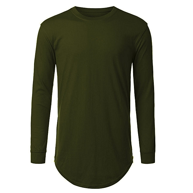 Fashion Men s Long Sleeve T-shirt with Side Zipper - Army Green ... 00c34b29e
