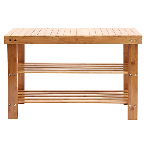 Natural Bamboo Shoe Bench 2-Tier Shoe Storage Rack Shelf Organizer Furniture New#70*28*45cm