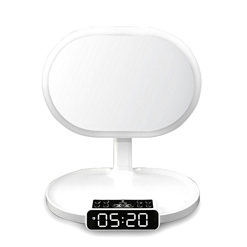Makeup Mirrors Bluetooth Speaker Alarm Cosmetic Mirror Creative Table Lamp TF Card Make Up Home Multifunction(white)