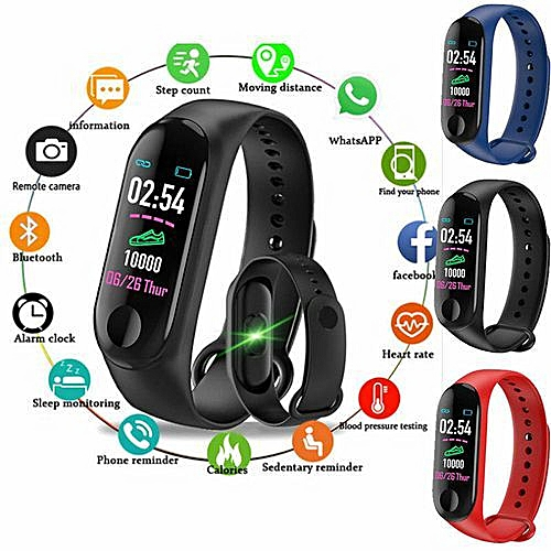 M3 Smart Watch Fitness Blood Pressure Heart Rate Tracker (Upgraded)- Black
