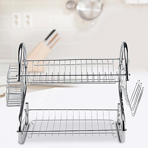 Minxin 2 Tier Stainless Steel Kitchen Dish Cup Drying Rack Holder Sink Drainer Dryer