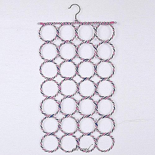 Clothes Tie Belt Shawl Scarf Hanger Holder Closet Organizer Hook 9-28 Ring Holes