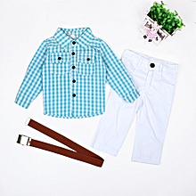 3c9271c38 Gentleman Children'S Clothing Boy Long Sleeve Plaid Shirt White  Trousers With Belt