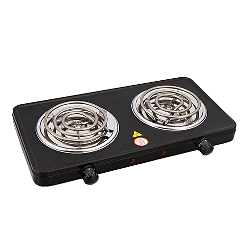 Electric Double Burner Cooking Hot Plate- Black