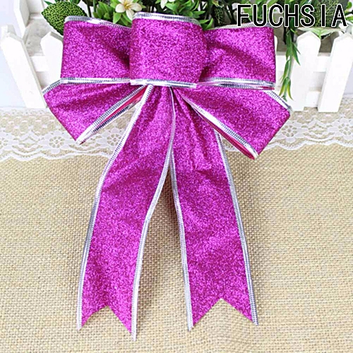 Christmas Tree Bow Ornaments Knot Flowers Christmas Tree Decoration Pendant Christmas Flowe Fuchsia