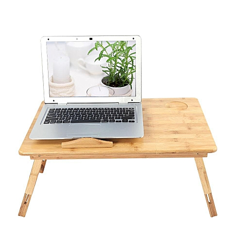 Portable Folding Bamboo Laptop Table Fast Heat Dissipation With 3-level Angle Adjustment