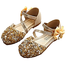 0b3a140a75f3e Kids Shoes Girls  039 s Bow Princess Shoes Gold