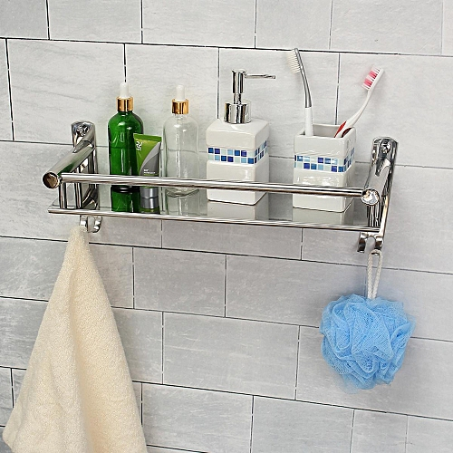 TAPCET 50CM Wall Mount Stainless Steel Single Tier Storage Basket Bathroom Soap Dish Shampoo Rack Bathroom