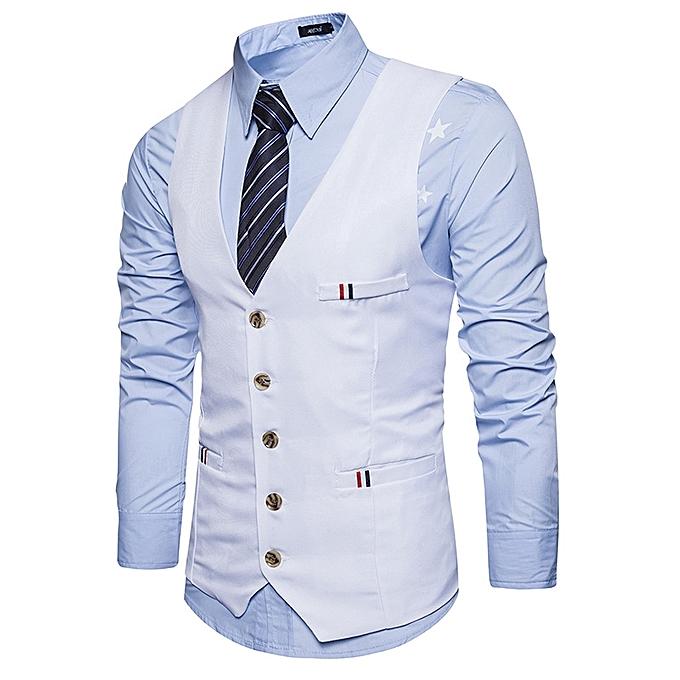 ... Men Casual Slim Fit Single Breasted Tuxedo Vests Waistcoats Men  Chalecos Para Hombre-WHITE ... 7123107e978c
