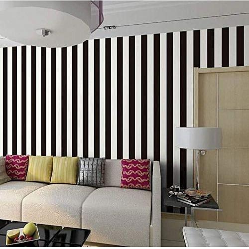 Wao Wallpapers Classy Stripe Design Wallpaper Black & White - 5.3 Sqm