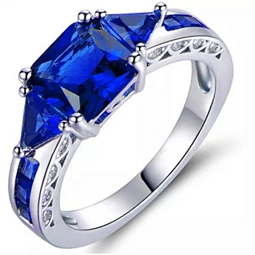 BLiNG Blue 4 Carat T.G.W. Sapphire 18kt White Gold-Plated Ring
