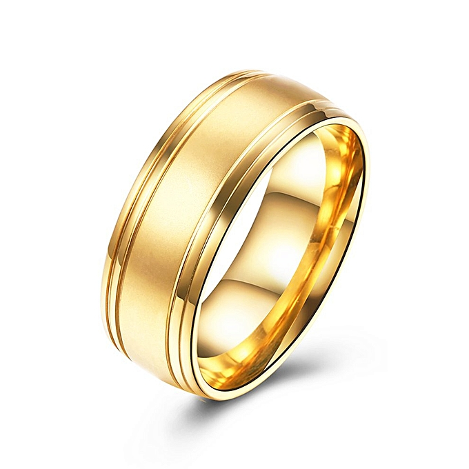 Male Wedding Bands.Trendy Male Wedding Band No Setting Round Shaped Titanium Steel Finger Ring Golden