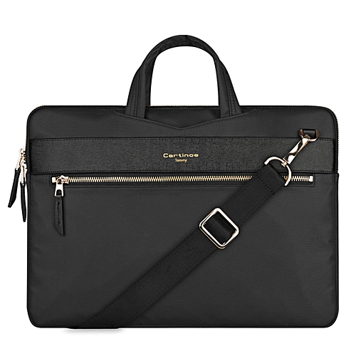 13.3 Inch Cartinoe Fashion London Style Exquisite Zipper Portable Handheld Nylon+PU Laptop Bag With Removable Shoulder Strap ForBook, Lenovo And Other Laptops, Internal Size:36.0x25.0x2.5cm(Black)