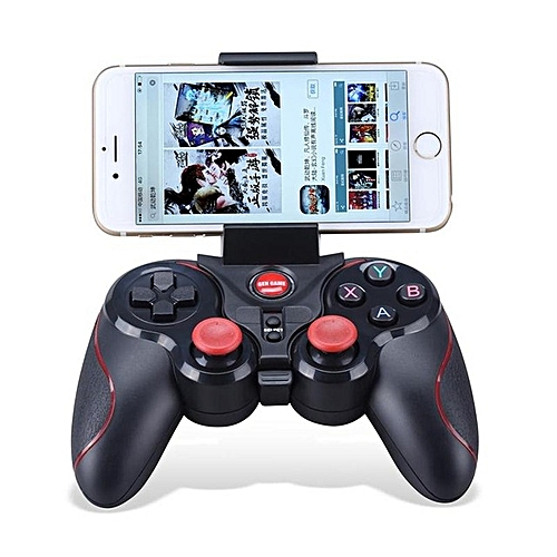 S5 Wireless Bluetooth Controller Game Pad With Holder For IOS, IPhone,  IPad, Android, PC, Smart Phone, Smart TV- Black