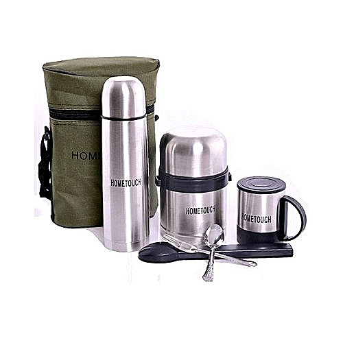 Hometouch 5 Pcs Stainless Steel Food Flasks- Silver